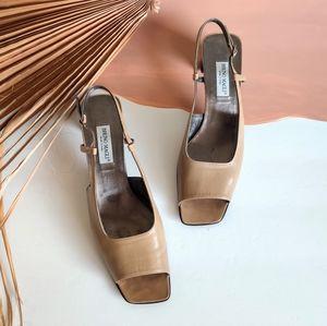Vintage 90s Leather Square Toe Nude Block Heels
